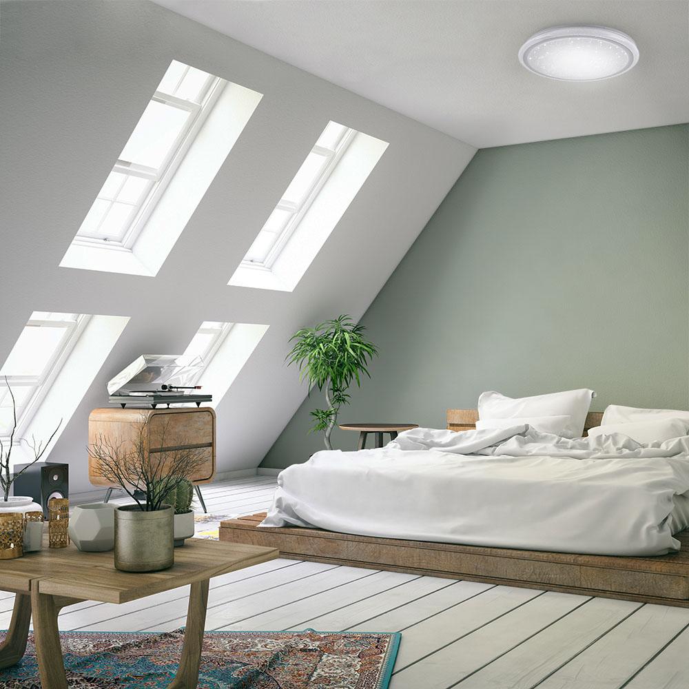 LED Deckenleuchte, rund, Sternenhimmeloptik, Ø 60cm, dimmbar