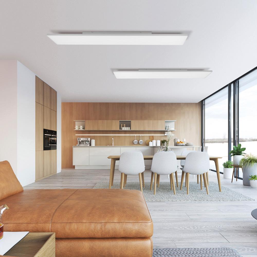 LED Panel in weiß und rechteckig mit Lichtfarbensteuerung und Dimmfunktion ist rahmenlos und blendfrei