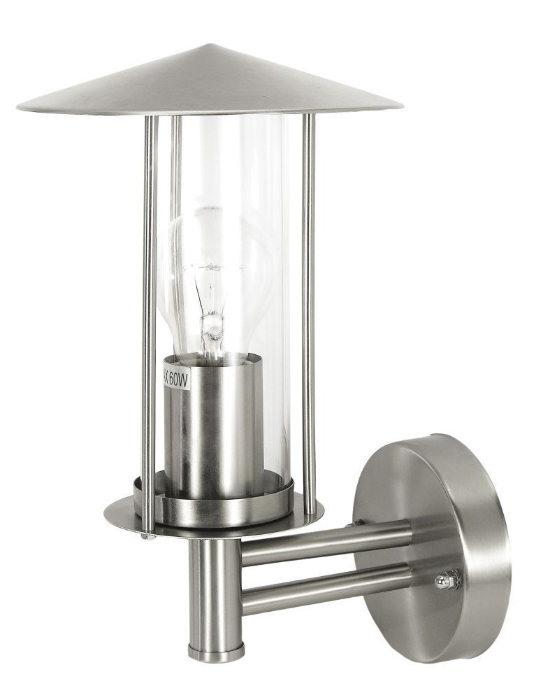 Wandleuchte in Stahl mit Glaszylinder für E27 Leuchtmittel bis 60 Watt ist spritzwassergeschützt