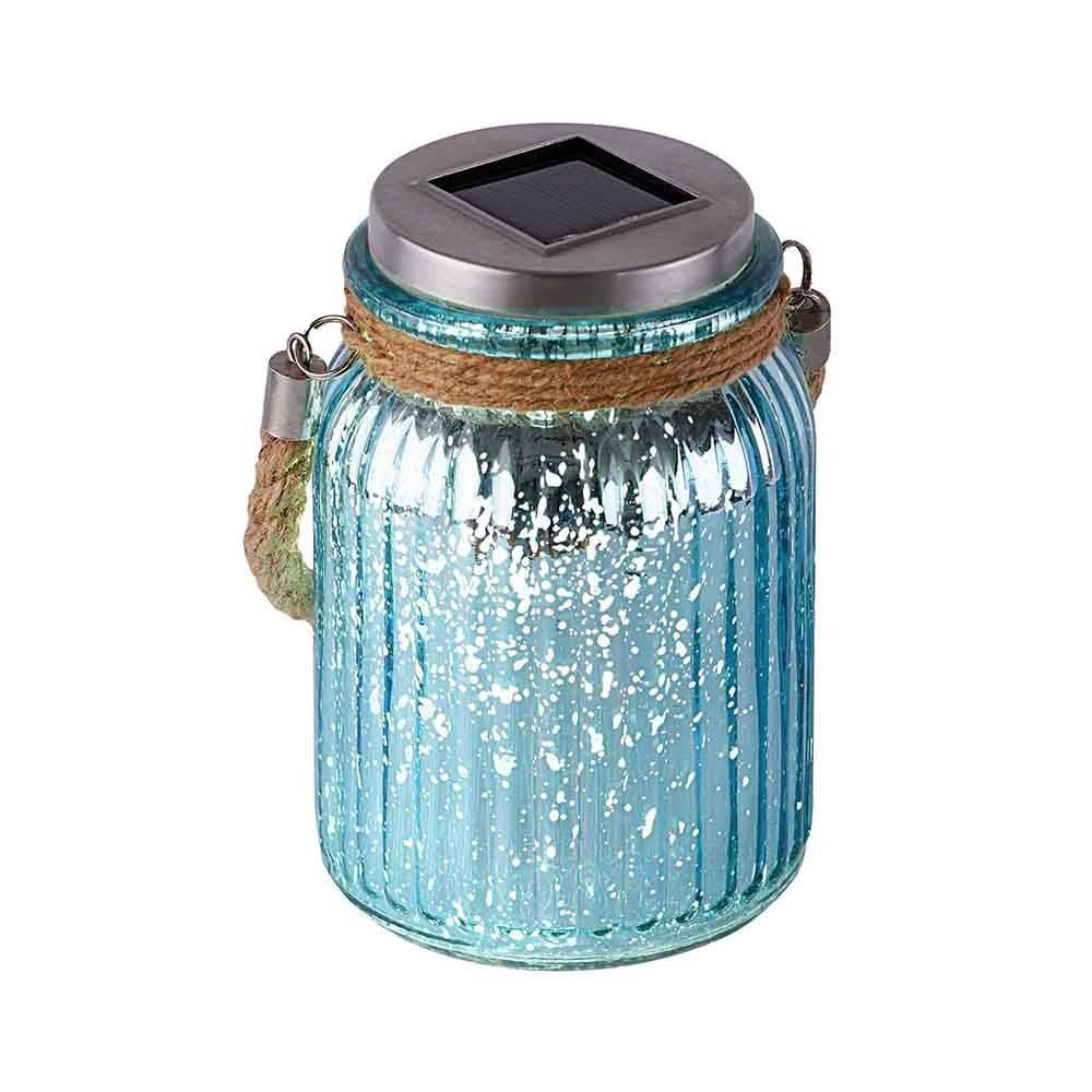 LED-Solarlicht aus blauem Glas für leuchtende Akzente im Außenbereich