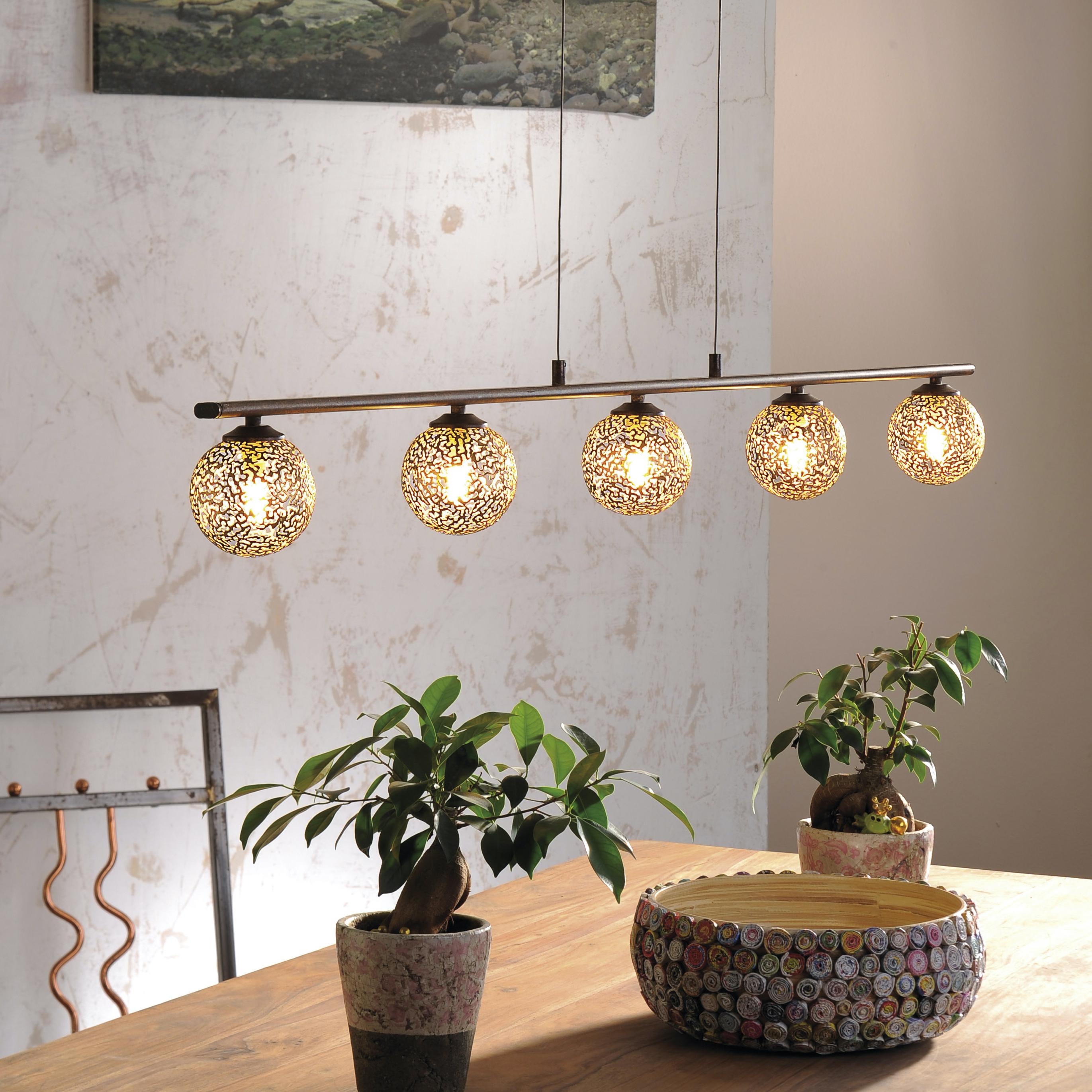 Pendelleuchte, rost, braun-gold, Landhaus-Stil, lichtdurchlässiges Muster