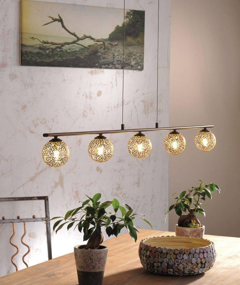 Pendelleuchte in braun-gold im Landhaus-Stil mit 5 Spots mit lichtdurchlässigen Muster für G9 Leuchtmittel