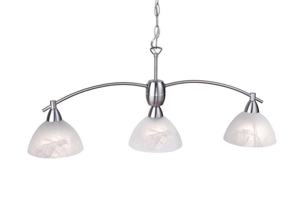 Pendelleuchte in Stahl mit 3 Leuchtköpfen und halbrunden Alabasterglasschirmen für E14 Leuchtmittel