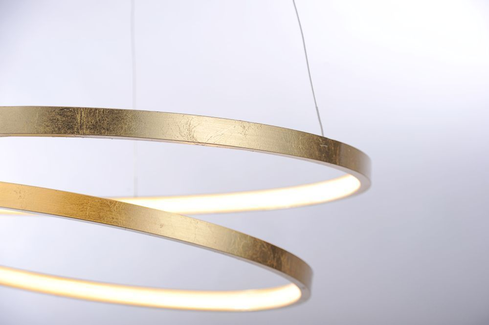 LED Pendelleuchte, rund, Blattgold-Optik