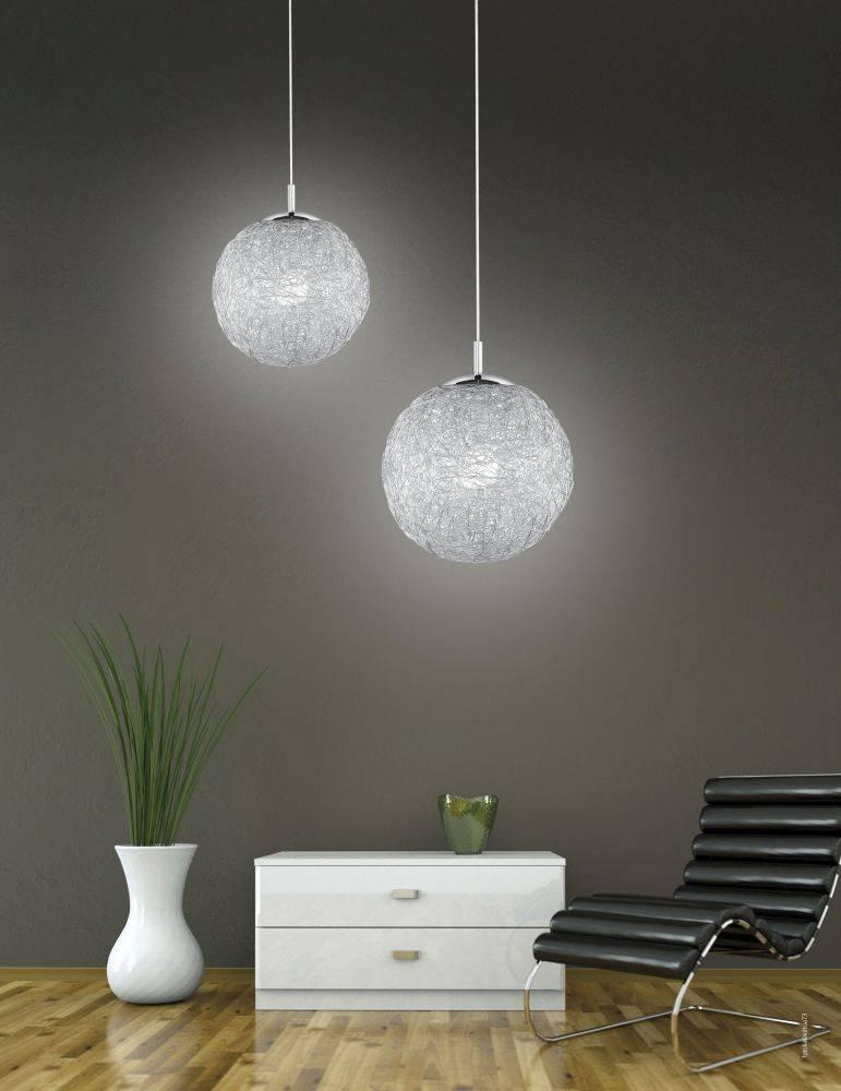 Pendelleuchte mit Kugel aus Aluminiumdrahtgeflecht für E27 Leuchtmittel sorgt für schönes Lichtspiel