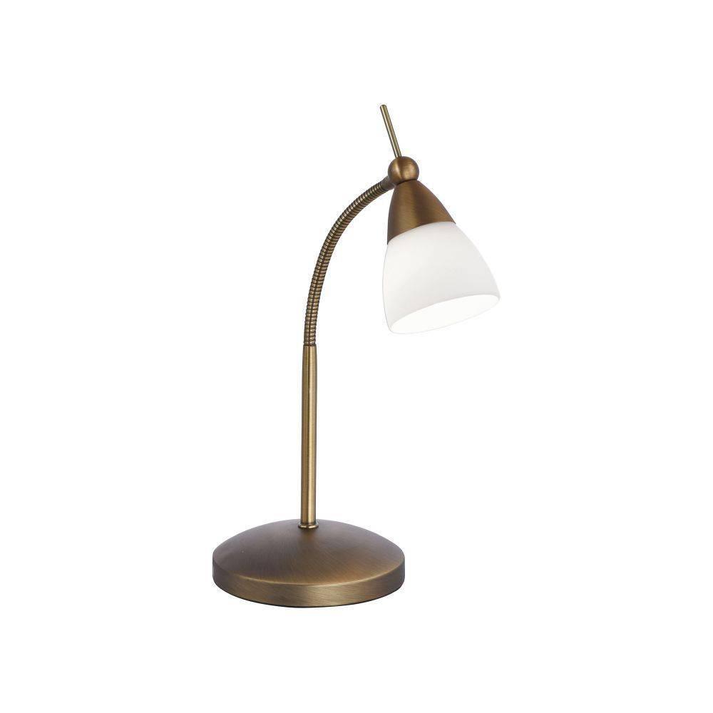 LED-Tischleuchte in altmessing mit Flexarm und warmweißer Lichtfarbe inkl. Touchdimmer strahlt blendfrei