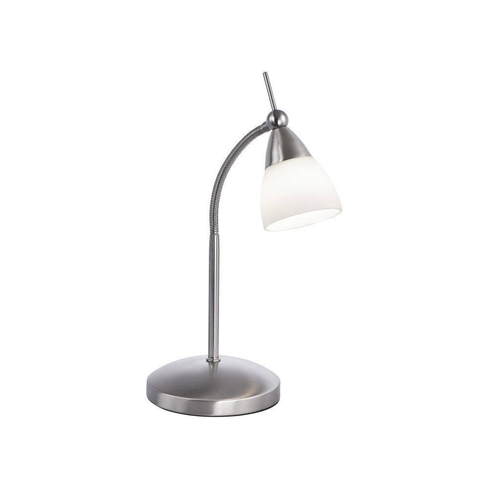 LED-Tischleuchte in Stahl mit Flexarm und warmweißer Lichtfarbe inkl. Touchdimmer strahlt blendfrei