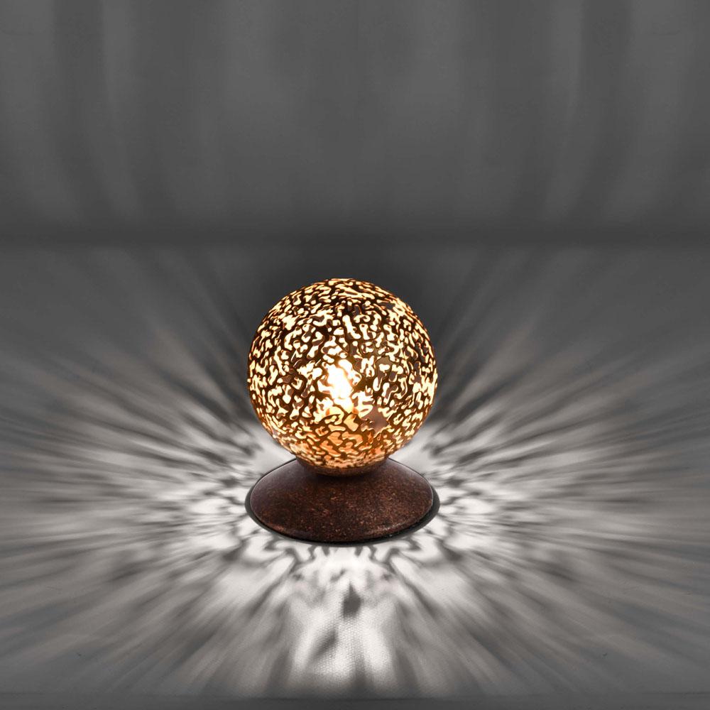Tischleuchte, braun, gold, runder Metallschirm, G9 Fassung, Schnurschalter