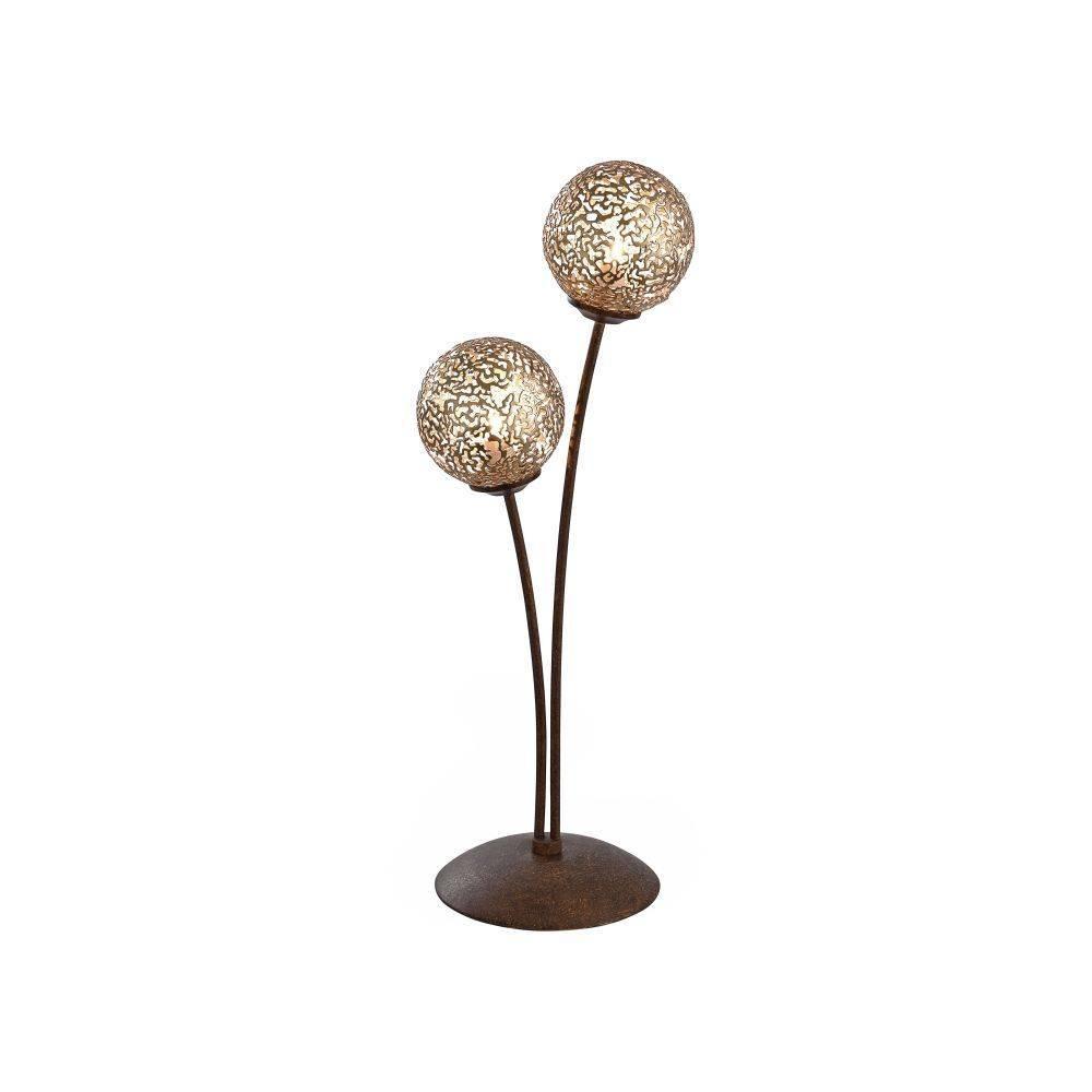 Tischleuchte in braun-gold im Landhaus-Stil mit 2 Spots mit lichtdurchlässigen Muster für G9 Leuchtmittel