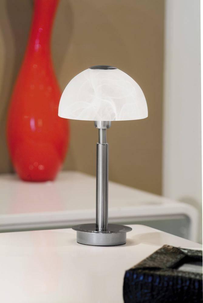 Tischleuchte aus Edelstahl und Lampenschirm aus Albasterglas mit warmweißer Lichtfarbe inkl. Touchdimmer