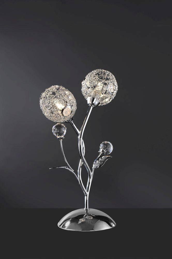 Tischleuchte in Chrom mit 2 Leuchtköpfen in blumiger Form und Drahtgeflecht inkl. Kristallelemente