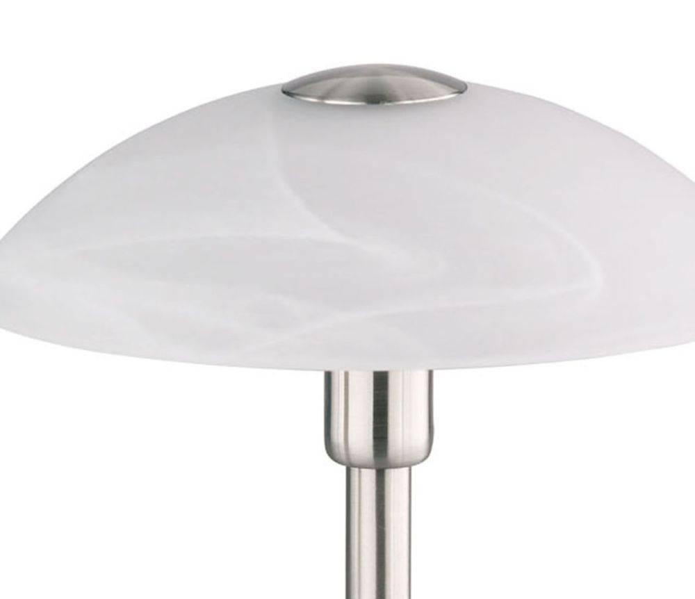 Tischleuchte in Stahl mit Lampenschirm aus Alabasterglas und warmweißer Lichtfarbe inkl. Touchdimmer