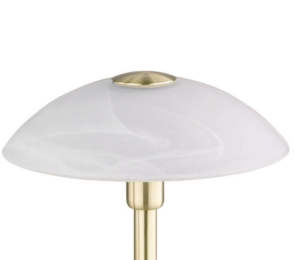 Tischleuchte in messing-matt mit Lampenschirm aus Alabasterglas und warmweißes Licht inkl. Touchdimmer