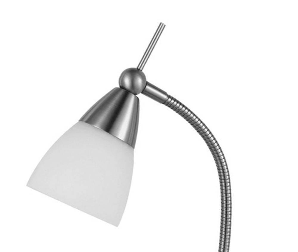 Tischleuchte in Stahl mit verstellbaren Leuchtkopf und warmweißer Lichtfarbe inkl. Touchdimmer