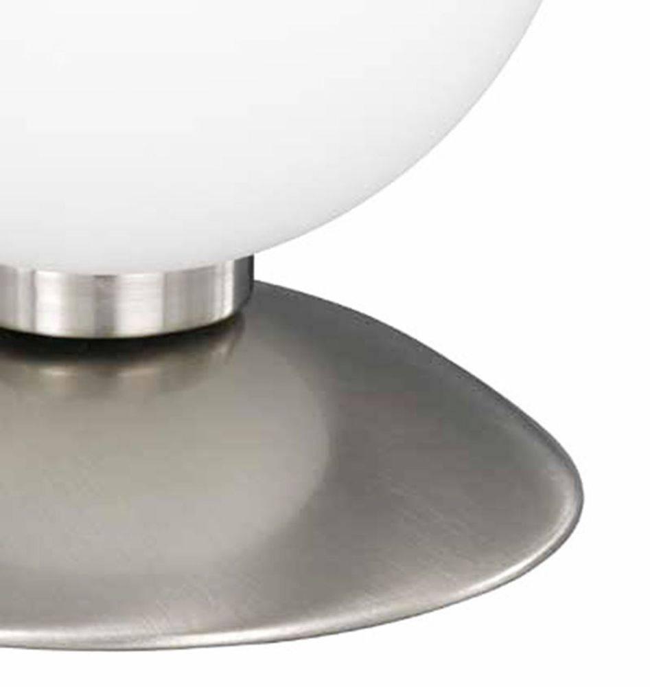 Kugellampe in Stahl mit warmweißer Lichtfarbe inkl. Touchdimmer strahlt blendfrei
