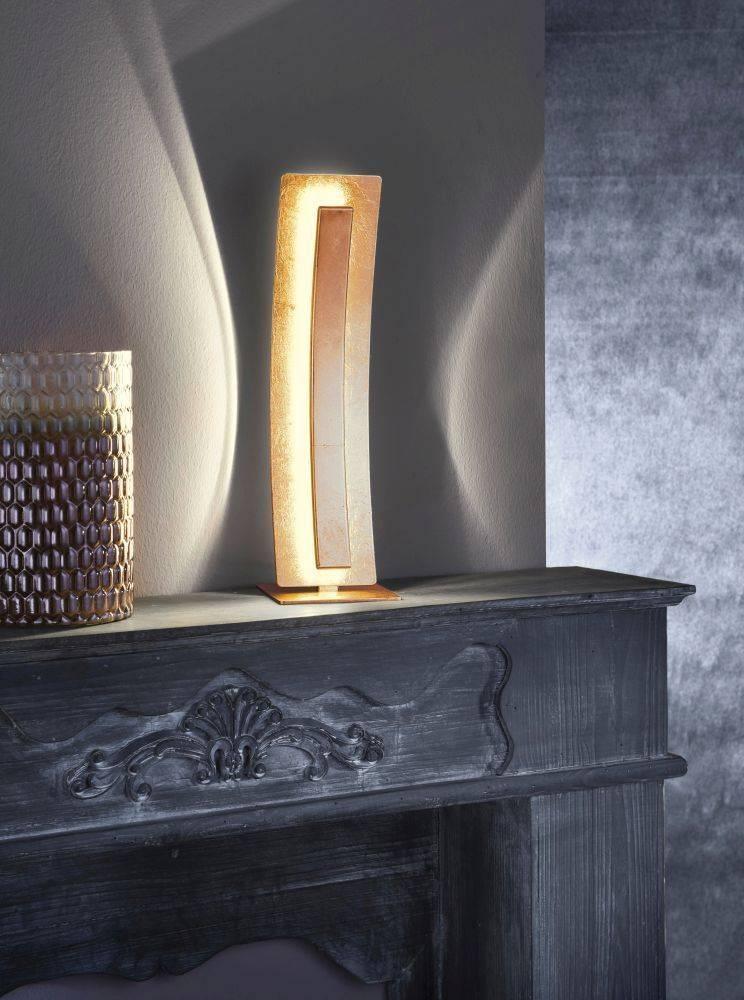 LED-Tischleuchte in Blattgoldoptik mit warmweißer Lichtfarbe inkl. Schnurschalter strahlt blendfrei