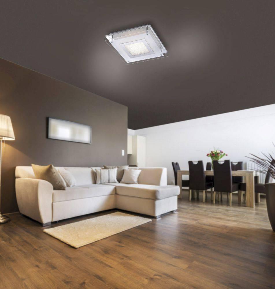 LED Deckenleuchte quadratisch mit teilsatiniertem Glasperleneffekt