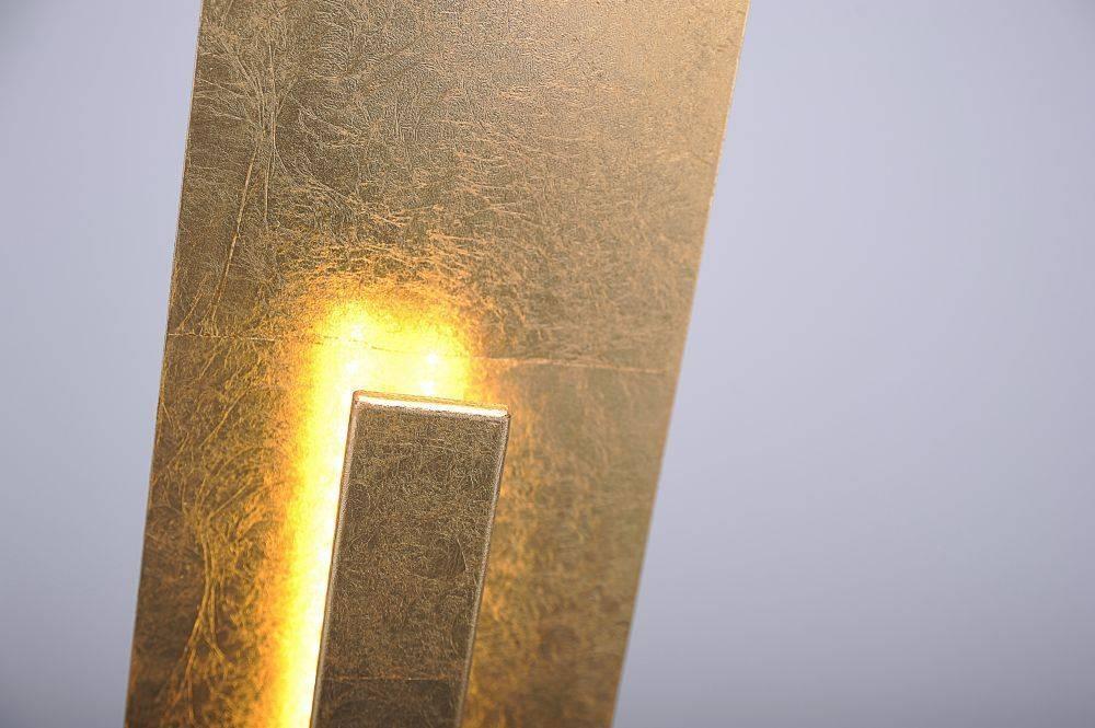 LED-Stehleuchte in Blattgoldoptik mit warmweißer Lichtfarbe inkl. Fußschalter strahlt blendfrei