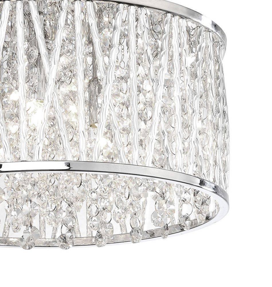 LED-Deckenleuchte in Chrom und Kristalloptik mit warmweißer Lichtfarbe und geringer Wärmeentwicklung