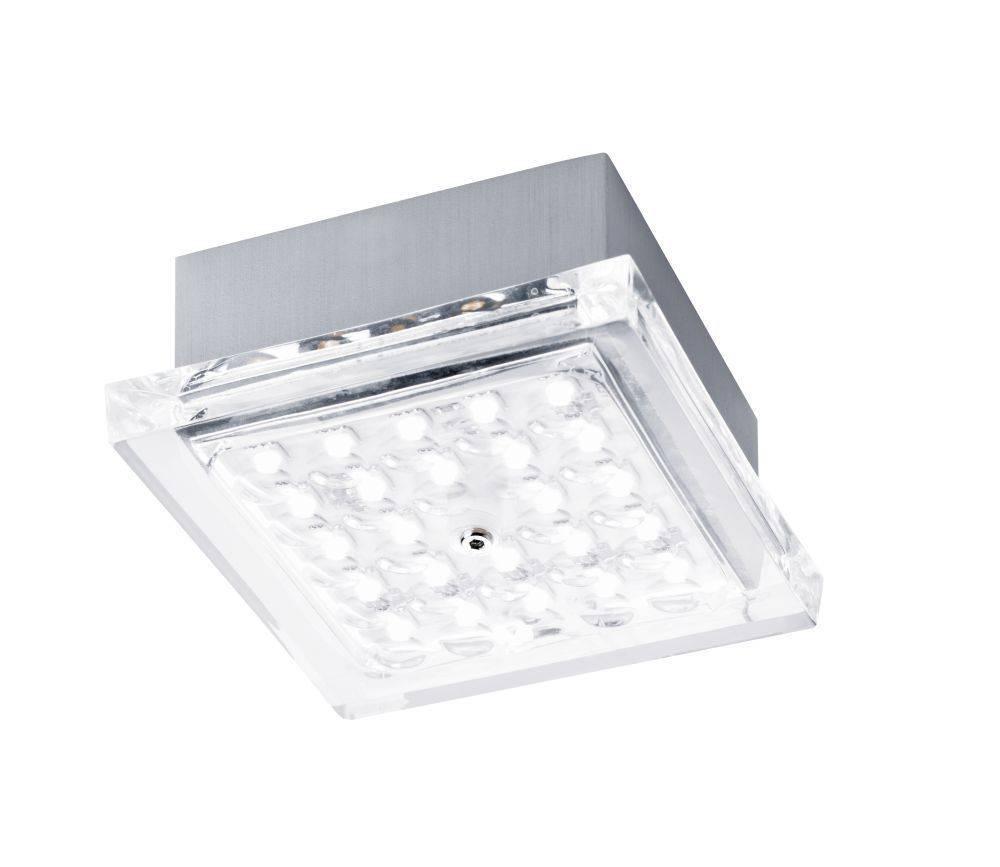 LED Deckenleuchte quadratisch in stahlfarben aus Acrylglas