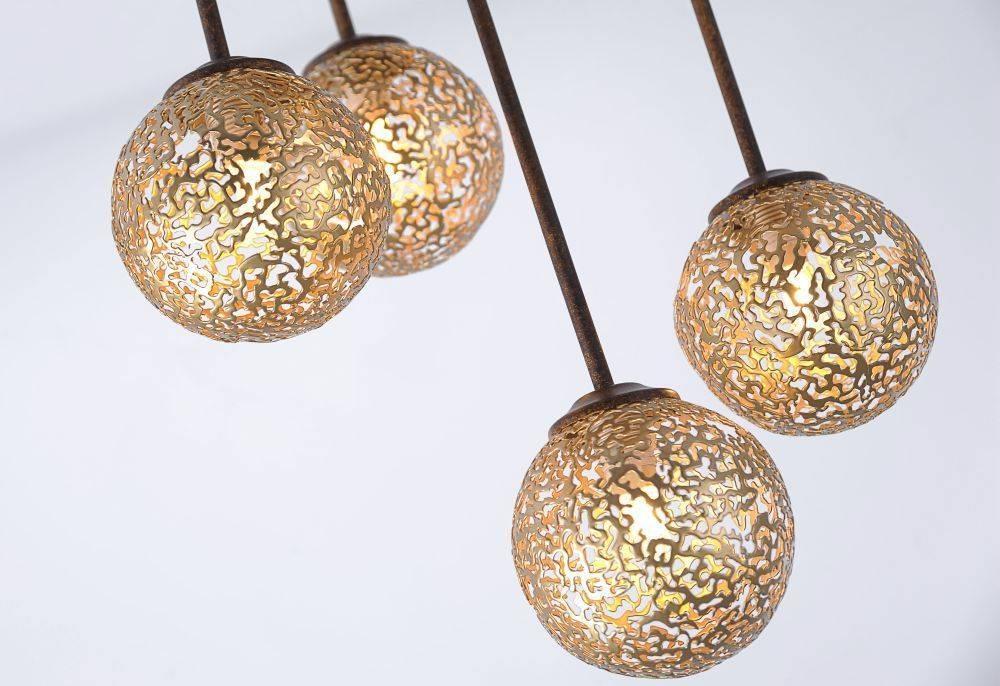 Deckenleuchte in braun-gold im Landhaus-Stil mit 5 Spots mit lichtdurchlässigen Muster für G9 Leuchtmittel