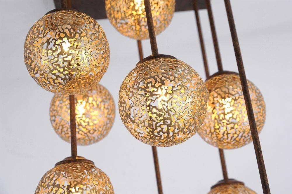 Deckenleuchte in braun-gold im Landhaus-Stil mit 9 Spots mit lichtdurchlässigen Muster für G9 Leuchtmittel