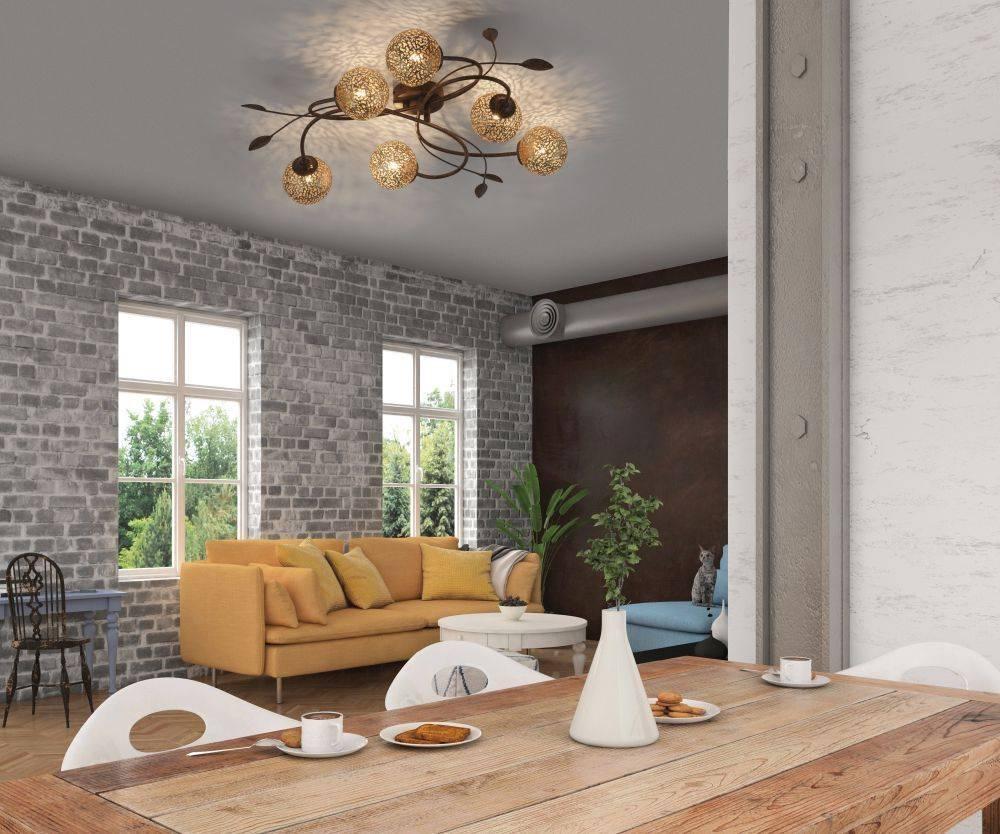Deckenleuchte in braun-gold im Landhaus-Stil mit 6 Spots mit lichtdurchlässigen Muster für G9 Leuchtmittel