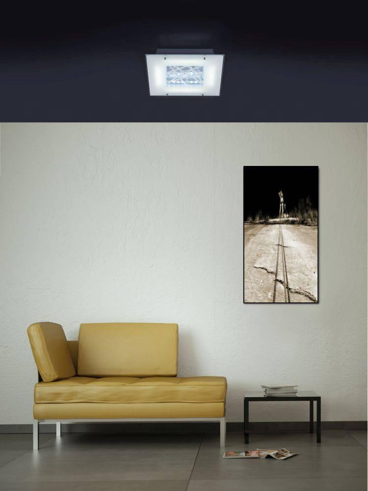 LED Deckenleuchte, weiß, 40x40cm, teilsatiniertes Glas, Kristalloptik,