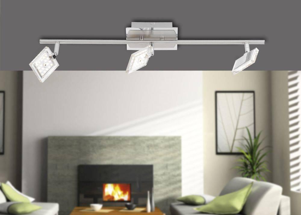 LED Deckenleuchte, 3-flammig, chromfarben, modern, schwenkbar