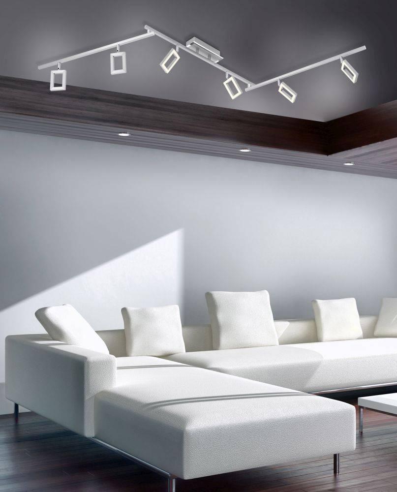 LED Deckenleuchte als 6-flammiger Deckenstrahler mit Dimmfunktion und verstellbaren Spots