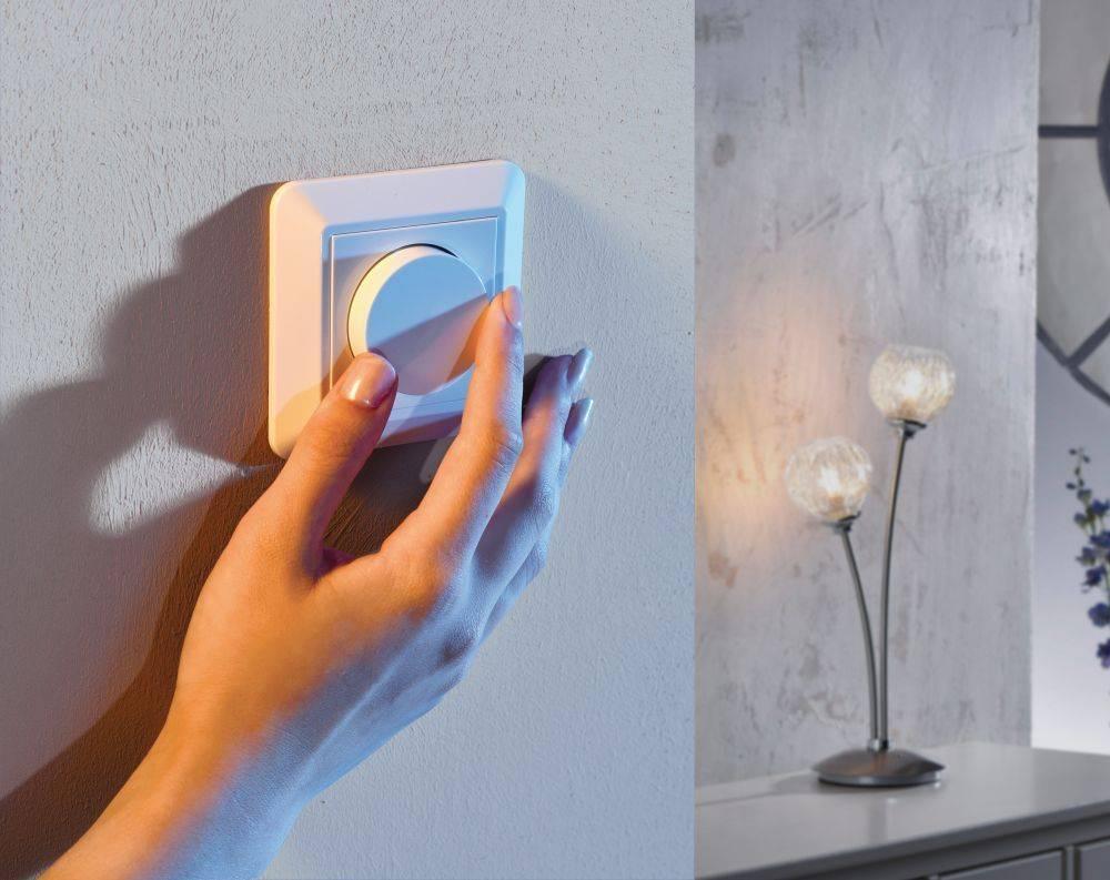 Phasenabschnittsdimmer, weiß, Unterputz, Lichtintensität dimmbar, modern