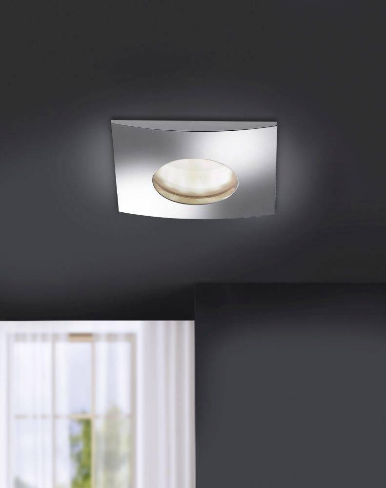 LED-Einbauleuchte in Chrom und quadratisch inkl. Switchmo Dimmfunktion ist spritzwassergeschützt