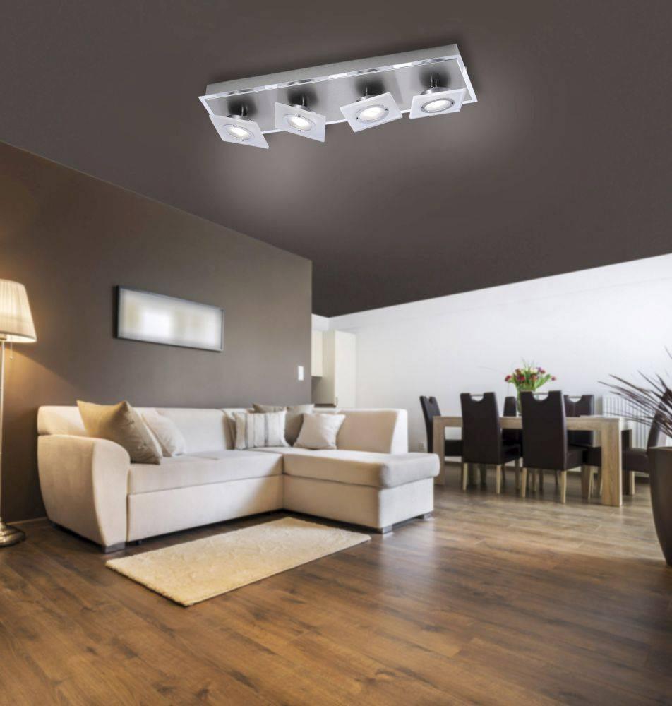 LED-Deckenleuchte, Aluminium, 4flammig, dreh und schwenkbar, Chrom, Stahl
