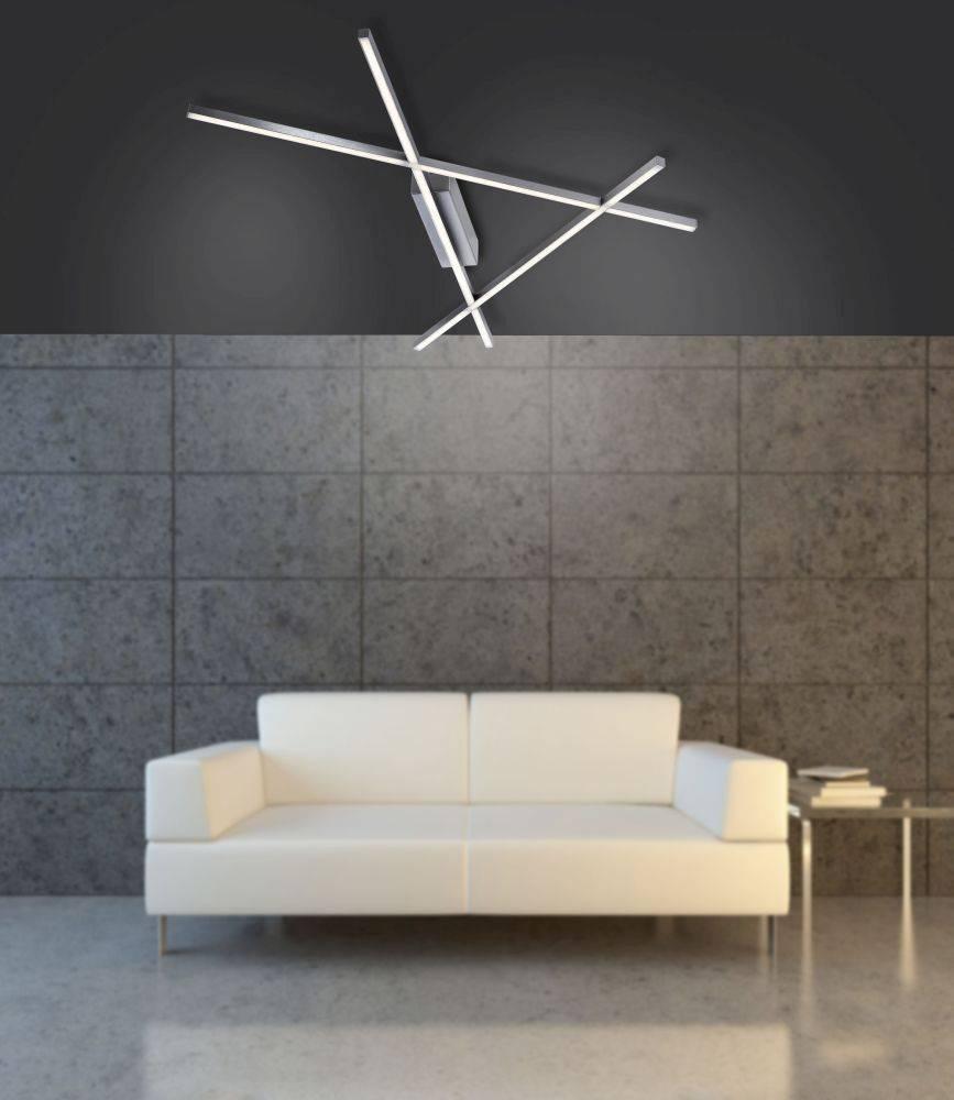 LED Deckenleuchte, geometrisch, Dreieck Form, stahlfarben, dimmbar, modern