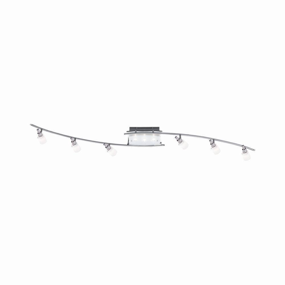 LED-Deckenleuchte in Stahl mit 9 davon 6 verstellbaren Leuchtköpfen und warmweißer Lichtfarbe