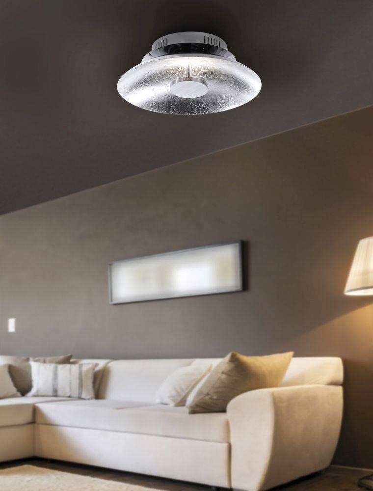 LED-Deckenleuchte in Blattsilberoptik und Schalenform mit warmweißer Lichtfarbe strahlt blendfrei
