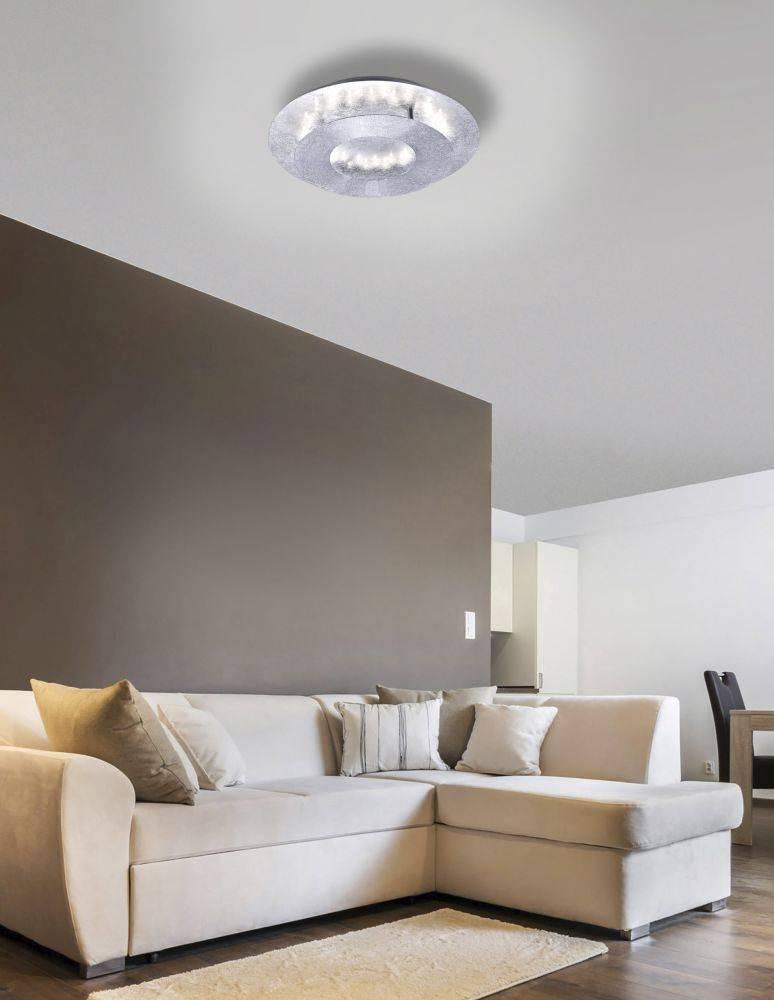 LED-Deckenleuchte in Blattsilberoptik mit drehbaren Leuchtkopf in Ringform und warmweißer Lichtfarbe