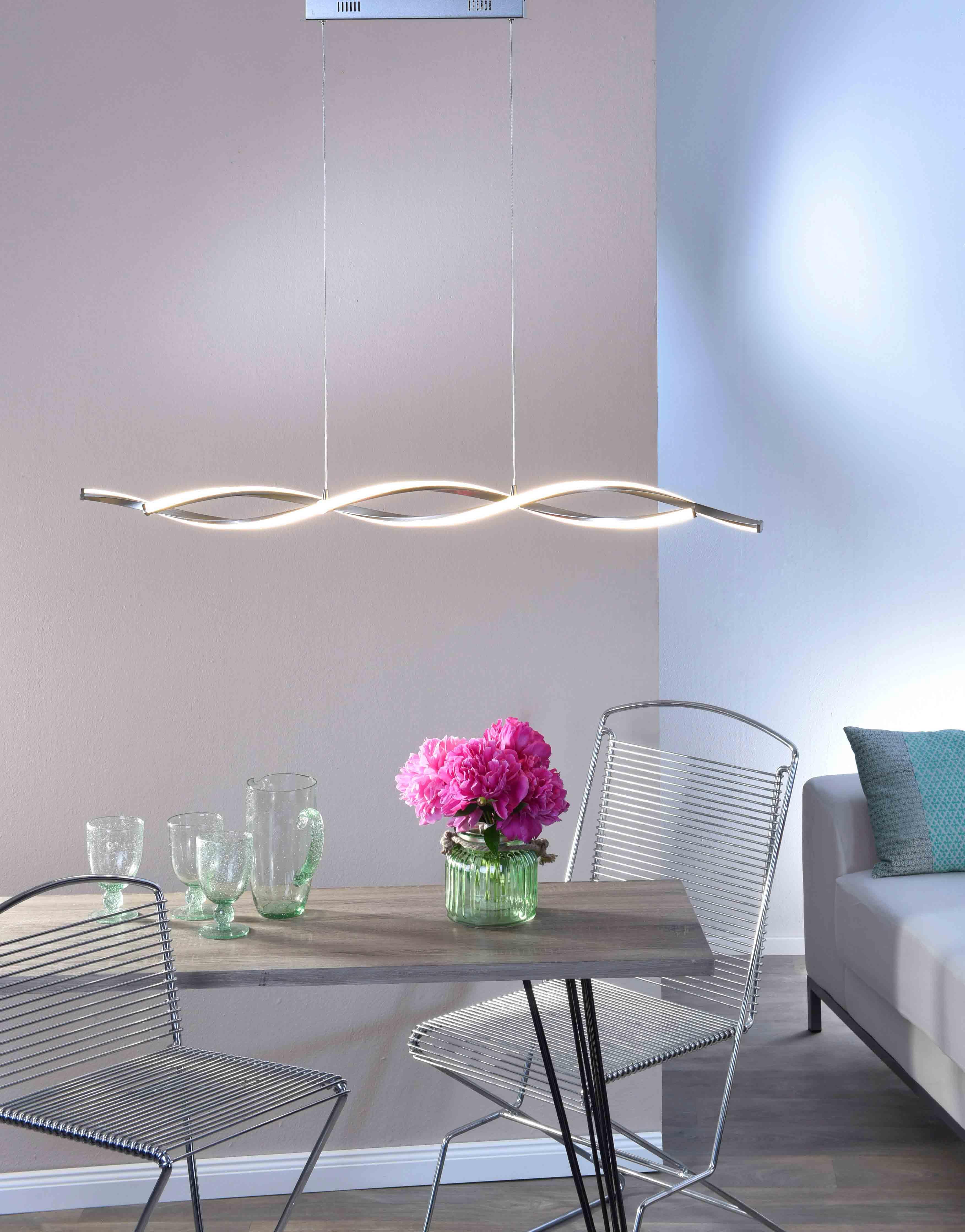 LED Pendelleuchte, wellenförmig, stahlfarben, warmweiß, höhenverstellbar