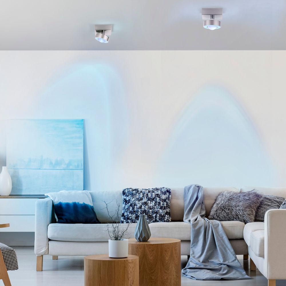 Q-MIA LED Deckenleuchte in stahlfarben mit schwenkbaren Leuchtenspot ist Smart Home fähig