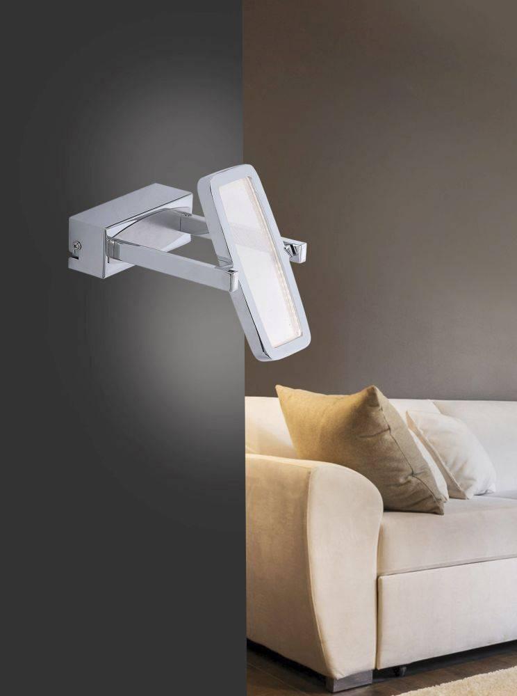 LED-Wandleuchte, Chrom, Leuchtenkopf verstellbar, warmweißes Licht