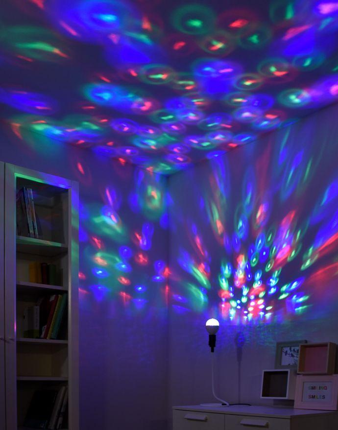 LED-Partylicht, Leuchtmittel E27, Spiegelkugeleffekt