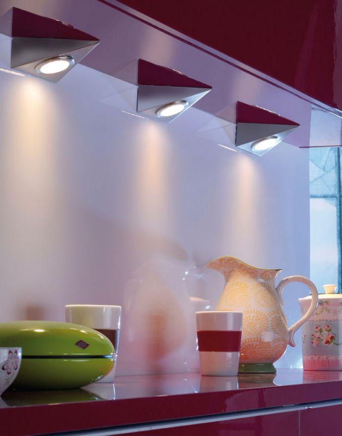 LED-Unterbauleuchten, 3er Set, stahl, warmweiße Lichtfarbe, Sensorschalter