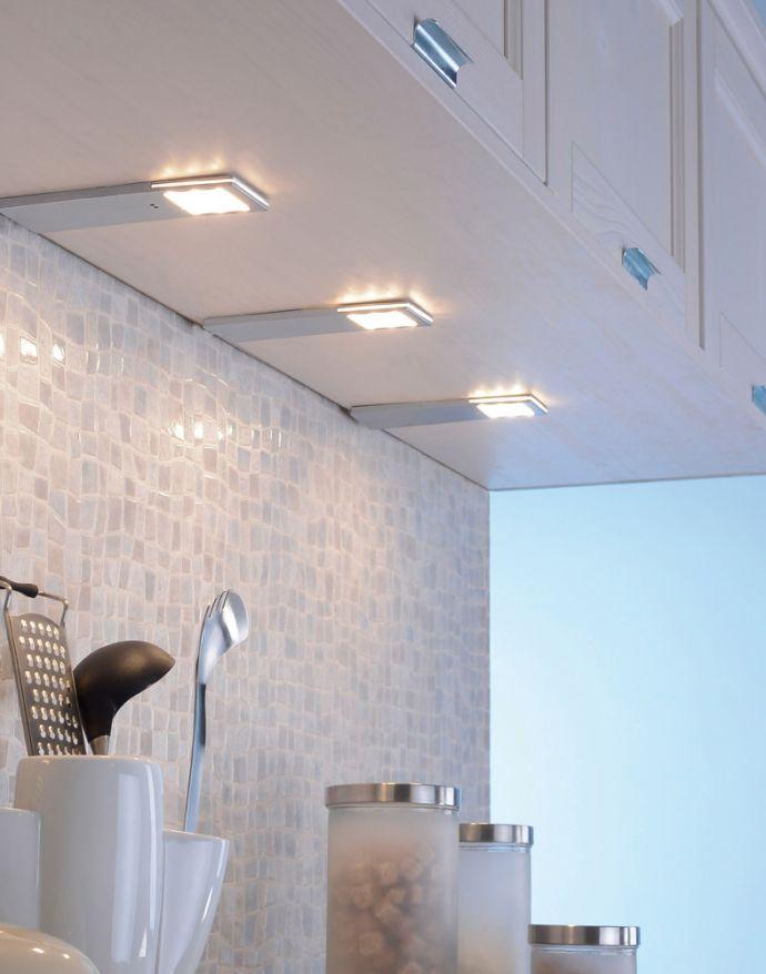 LED-Unterbauleuchten, 3er Set, Aluminium, warmweiße Lichtfarbe, modern