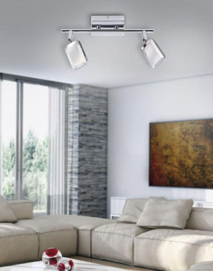 LED-Deckenleuchte, chrom, 2 verstellbare Leuchtköpfe, warmweiße Lichtfarbe