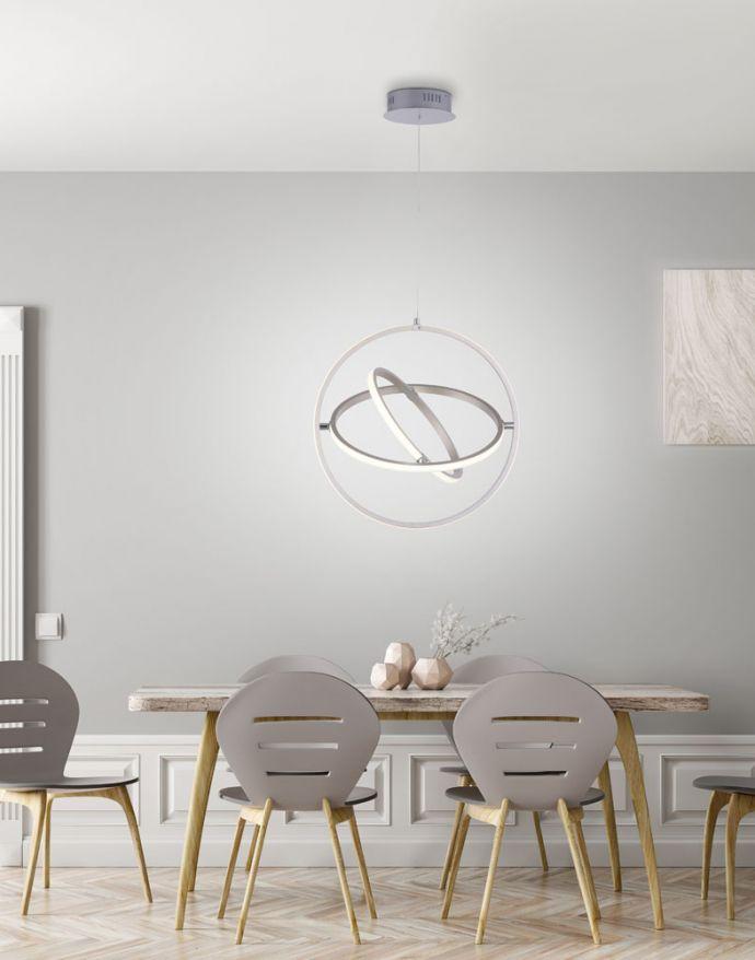 LED Pendelleuchte, stahlfarben, modernes Design, Stufendimmung, warmweiß