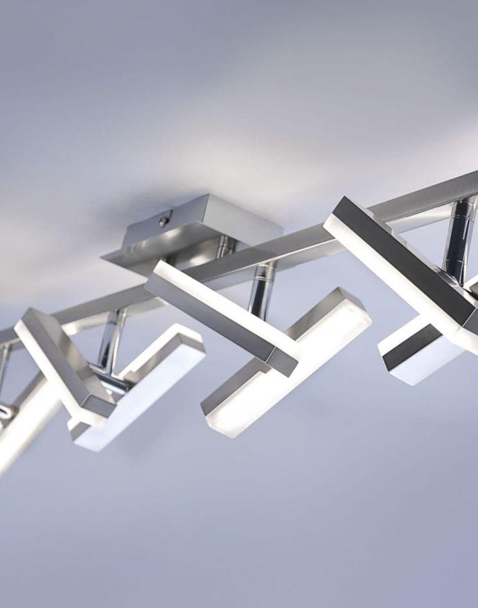 LED-Deckenleuchte, Stahl, 8flammig, drehbare Leuchtenköpfe, modernes Design