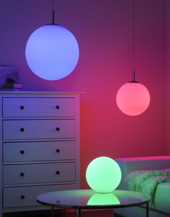 LED-Pendelleuchte, Kugelform, Opalglas, Ø 30cm, dimmbar, Fernbedienung