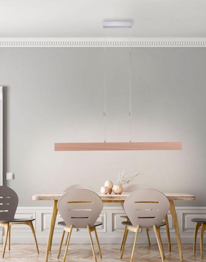 LED-Pendelleuchte, Holzdekor, höhenverstellbar, CCT-Farbmanagement, dimmbar