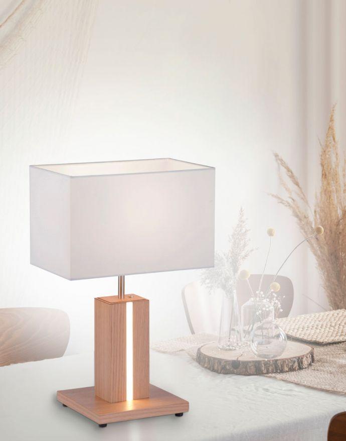 LED-Tischleuchte, Holzdekor, CCT Farbmanagement, dimmbar, Wippschalter