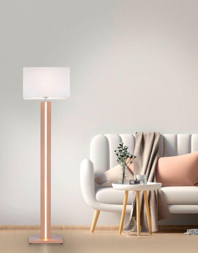 LED-Stehleuchte, Holzdekor, dimmbar, Tastdimmer, CCT-Farbmanagement, Wippschalter
